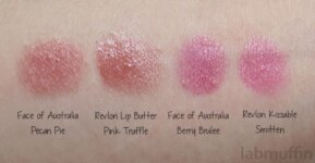 Face of Australia Glossy Lip Crayons – comparison swatches