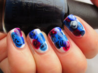 Blue rose nail art inspired by Leroy Nguyen