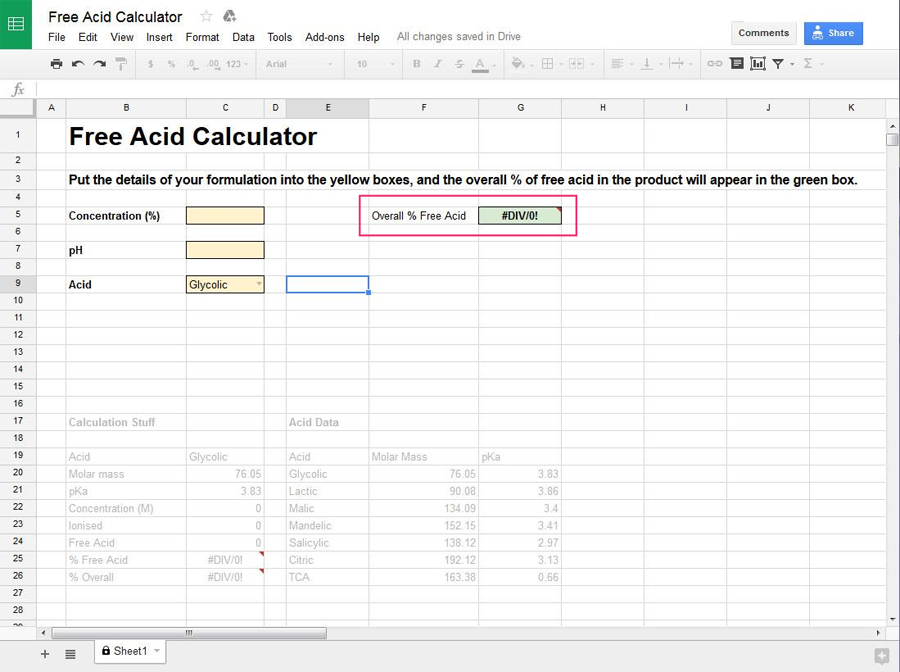Free Acid Calculator for pH and Exfoliants
