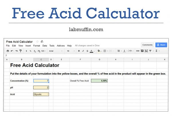 Free Acid Calculator for Exfoliants at Specific pH Levels