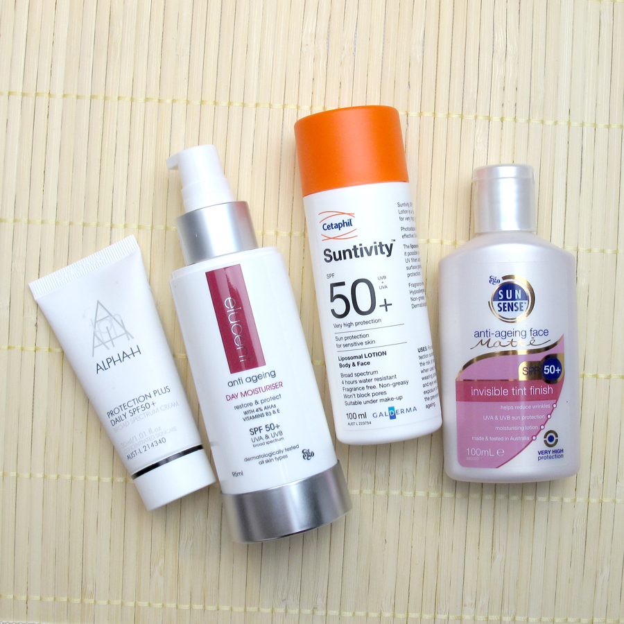 Sunscreen Review 1: Cetaphil, Elucent, Alpha-H, Sunsense