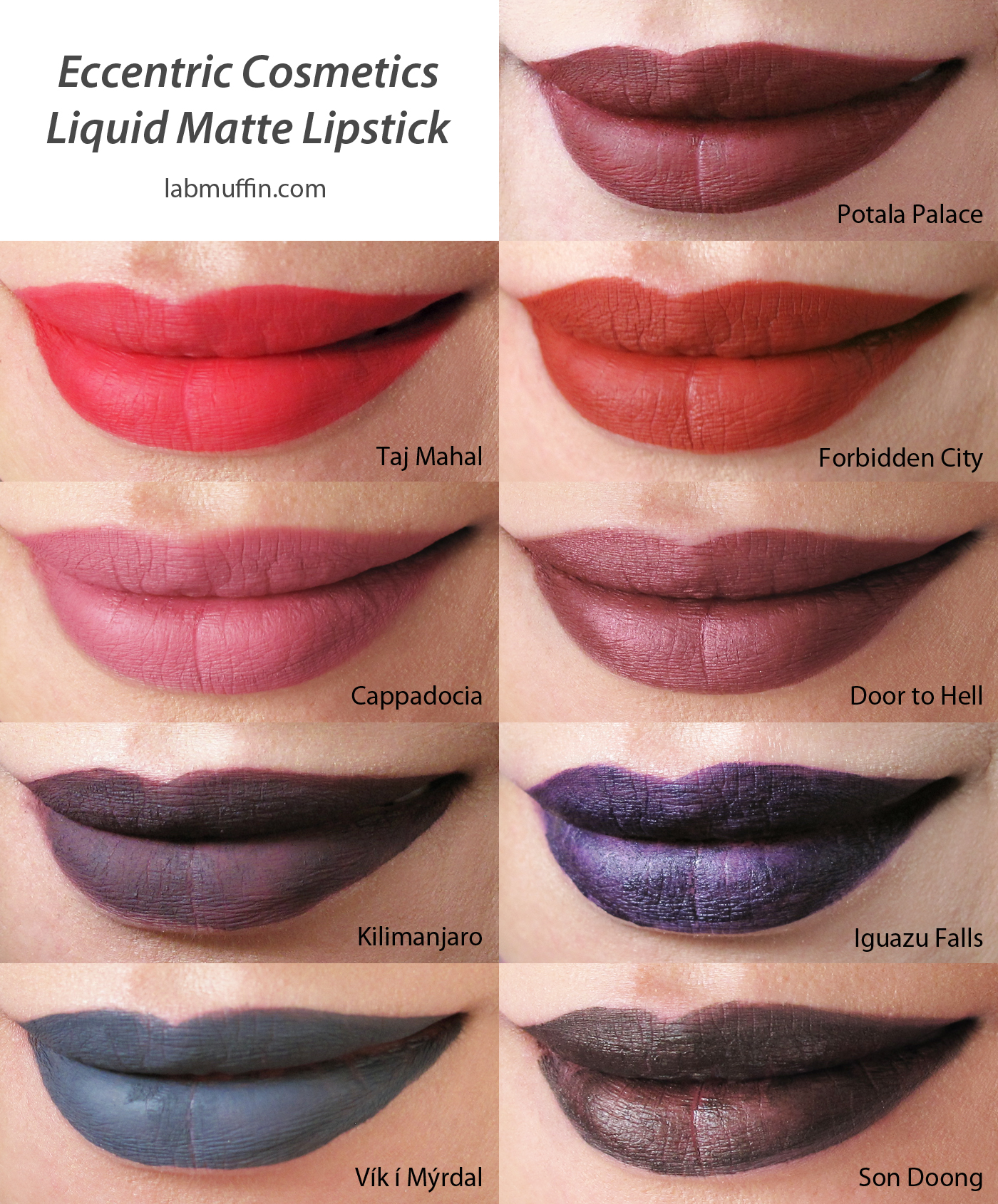 Eccentric Cosmetics Matte Liquid Lipsticks Swatches and Review