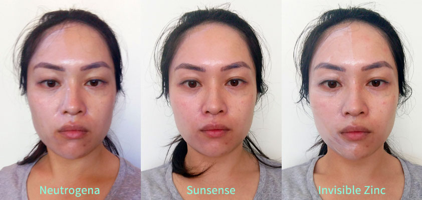 Zinc Sunscreen Review and White Cast Comparison: Neutrogena, Invisible Zinc, SunSense