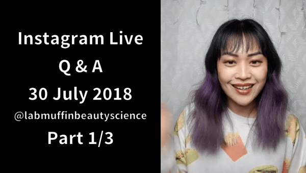 Instagram Live Q&A session: 30 July 2018