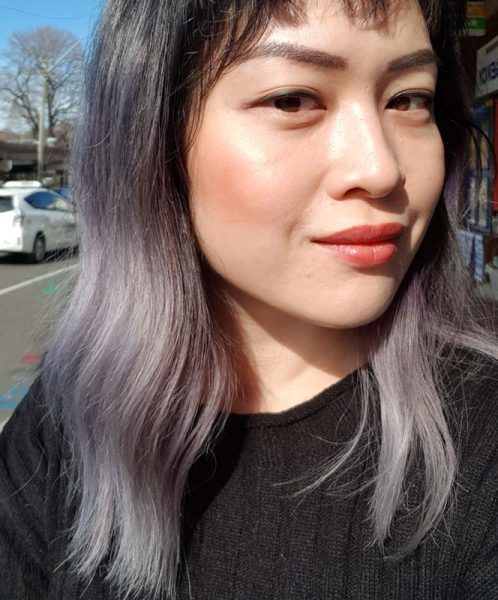 Purple asian hair after bleaching
