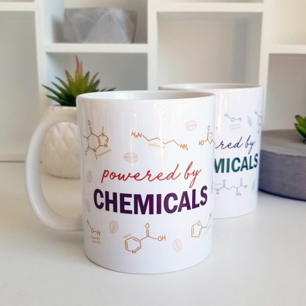 Powered By Chemicals Coffee and Tea Molecule Mugs