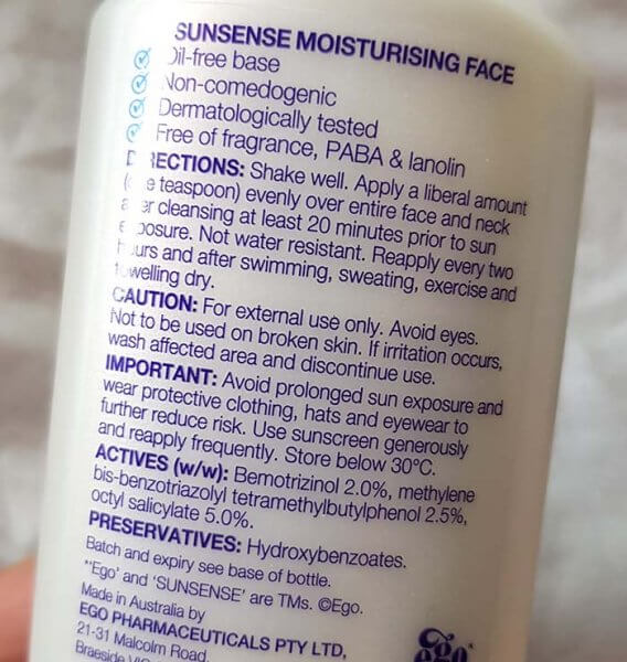 Sunsense listed sunscreen ingredients list