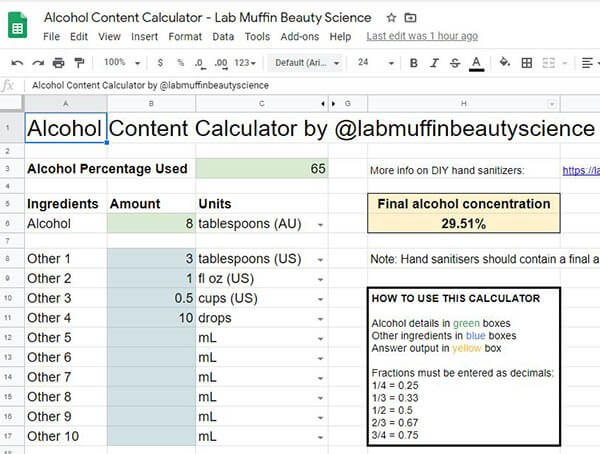 Alcohol content calculator