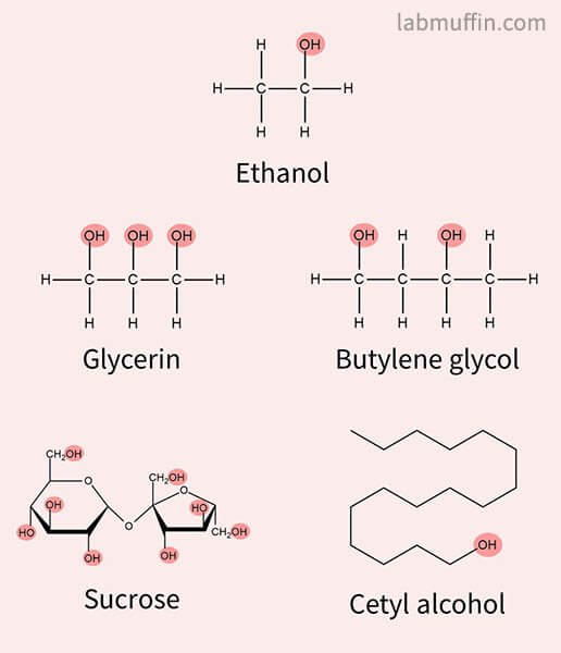 skincare alcohol ingredients structures