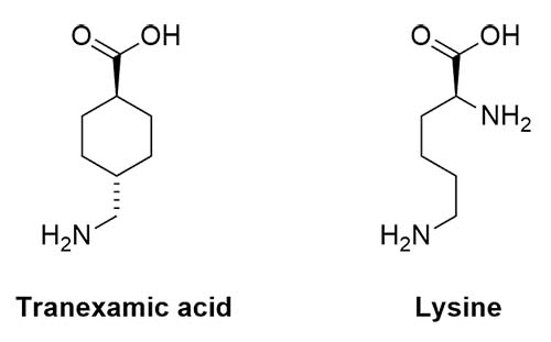 Structures of tranexamic acid and lysine