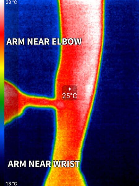 Arm vs elbow heat