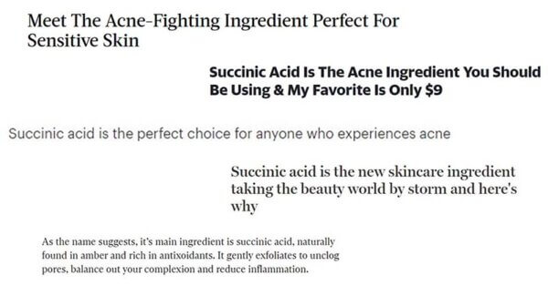 Succinic acid headlines from beauty media